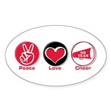 Peace Love Cheer Red Decal
