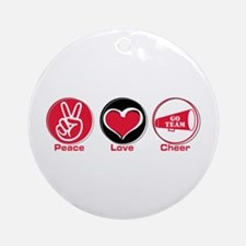 Peace Love Cheer Red Ornament (Round)