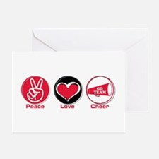 Peace Love Cheer Red Greeting Card