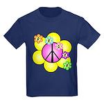 Peace Blossoms /pink Kids Dark T-Shirt