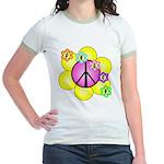 Peace Blossoms /pink Jr. Ringer T-Shirt