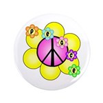 """Peace Blossoms /pink 3.5"""" Button"""