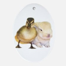 Duck and Bunny Oval Ornament
