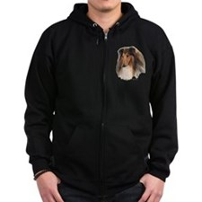 Rough Collie Art Zip Hoodie