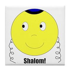 Jewish Rabbi Smiley Face Tile Coaster