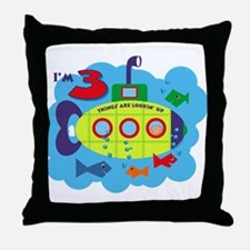 Submarine 3rd Birthday Throw Pillow