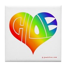Chloe (Rainbow Heart) Tile Coaster