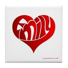 Emily (Red Heart) Tile Coaster