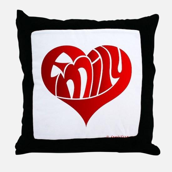 Emily (Red Heart) Throw Pillow