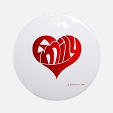 Emily (Red Heart) Ornament (Round)
