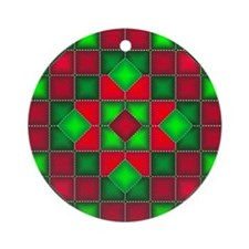 Christmas Quilt Ornament (Round)