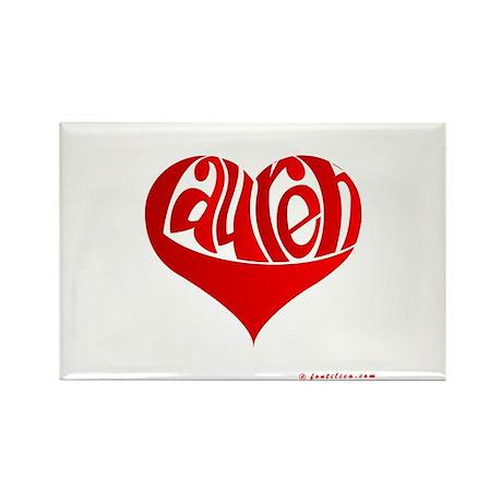 Lauren (Red Heart) Rectangle Magnet