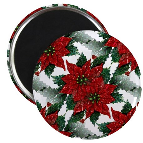 "Sparkling Red Poinsettias 2.25"" Magnet (100 pack)"