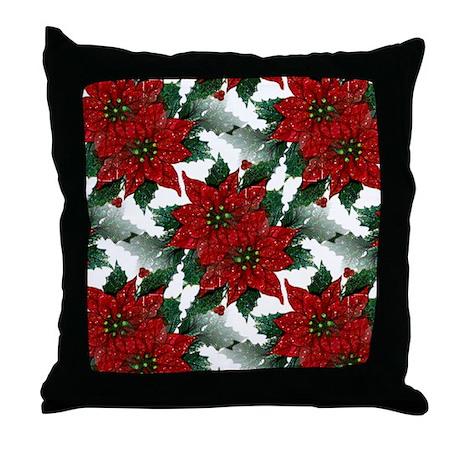 Sparkling Red Poinsettias Throw Pillow