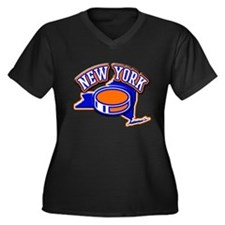 New York Hockey Women's Plus Size V-Neck Dark T-Sh