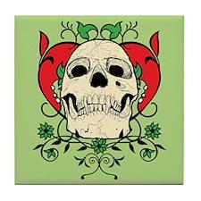 Skull and Heart Tile Coaster