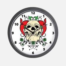 Skull and Heart Wall Clock