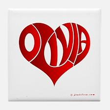 Olivia (Red Heart) Tile Coaster