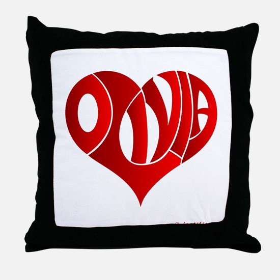 Olivia (Red Heart) Throw Pillow
