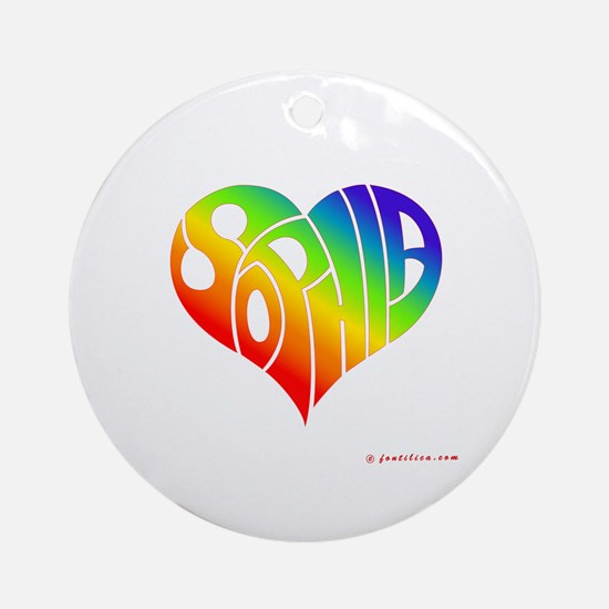 Sophia (Rainbow Heart) Ornament (Round)