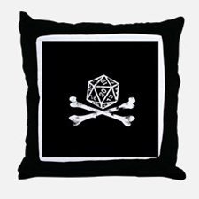 D20 and crossbones Throw Pillow