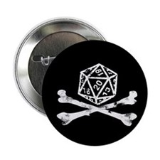"""D20 and crossbones 2.25"""" Button"""