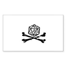 D20 and crossbones Rectangle Decal