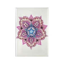 Lace and Faces Flower Rectangle Magnet