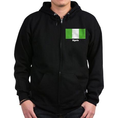 Nigeria Nigerian Flag Zip Hoodie (dark)