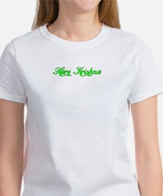 Green on White Krishna-T