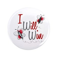 "I Will Win 1 Butterfly 2 PEARL/WHITE 3.5"" Button"