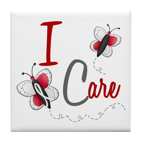 I Care 1 Butterfly 2 PEARL/WHITE Tile Coaster