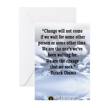"""Change will not come..."" Bar Greeting Cards (Pk o"