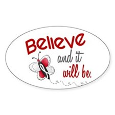 Believe 1 Butterfly 2 PEARL/WHITE Oval Decal