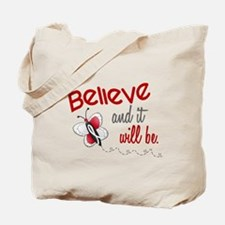 Believe 1 Butterfly 2 PEARL/WHITE Tote Bag