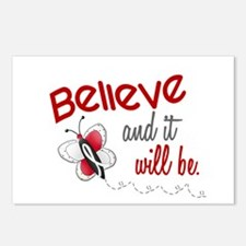 Believe 1 Butterfly 2 PEARL/WHITE Postcards (Packa