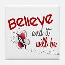 Believe 1 Butterfly 2 PEARL/WHITE Tile Coaster