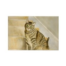 Cat on Stairs Rectangle Magnet
