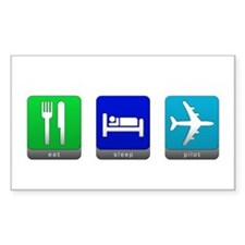 Eat, Sleep, Pilot Rectangle Decal