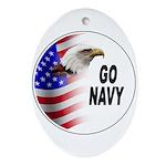 Go Navy Oval Ornament