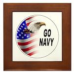 Go Navy Framed Tile