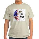 Go Navy (Front) Ash Grey T-Shirt
