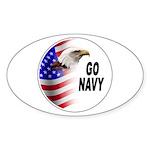Go Navy Oval Sticker