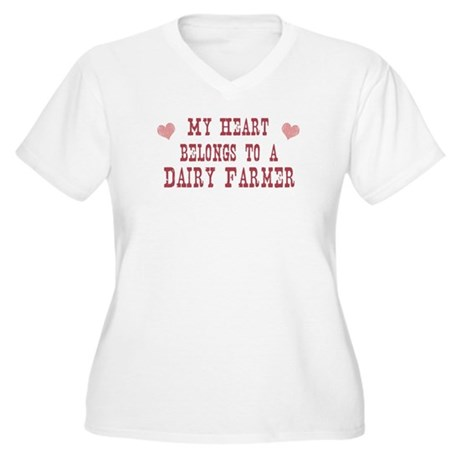 Belongs to Dairy Farmer Women's Plus Size V-Neck T
