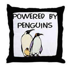Powered by Penguins Throw Pillow