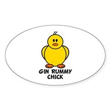 Gin Rummy Chick Oval Decal