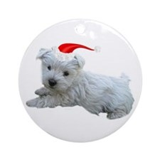 Holiday Westie Ornament (Round)