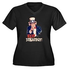 Exit Strategy Women's Plus Size V-Neck Dark T-Shir