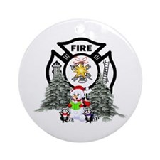 Fire Dept Christmas Ornament (Round)