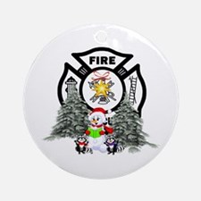 Fire Dept Christmas Ornament (Round)